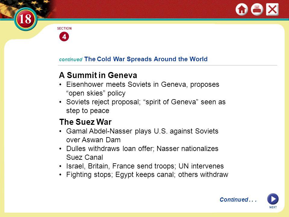 A Summit in Geneva The Suez War 4