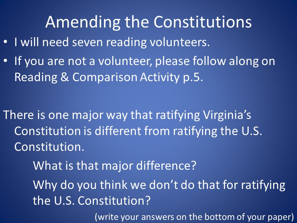 Amending the Constitutions