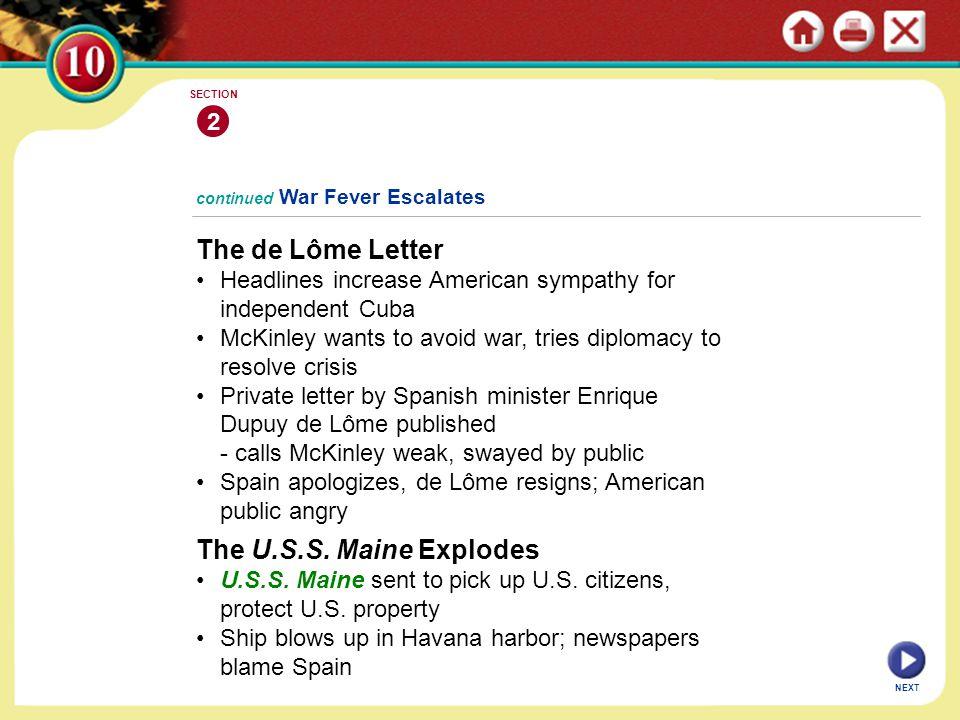 The de Lôme Letter The U.S.S. Maine Explodes 2