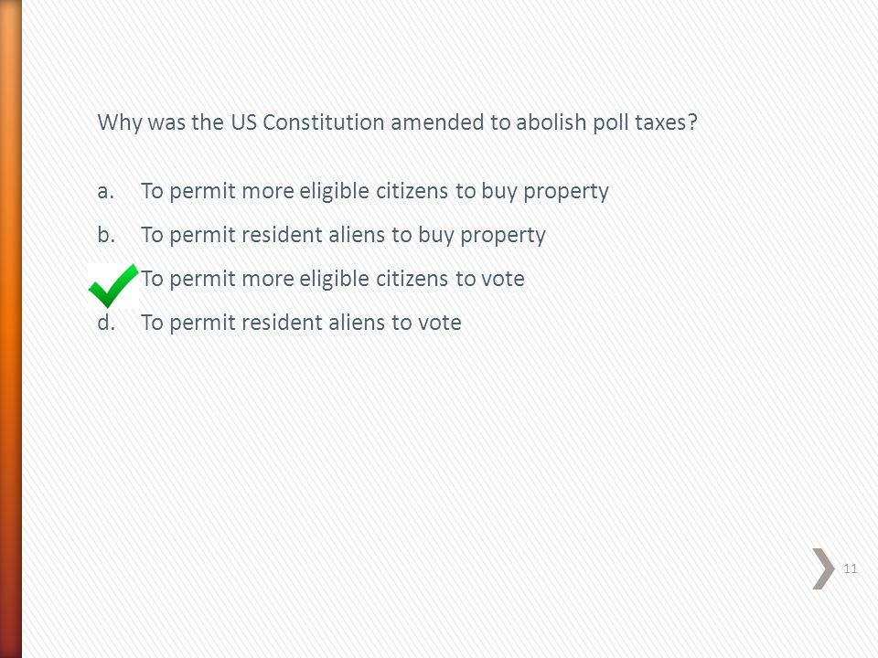 Why was the US Constitution amended to abolish poll taxes