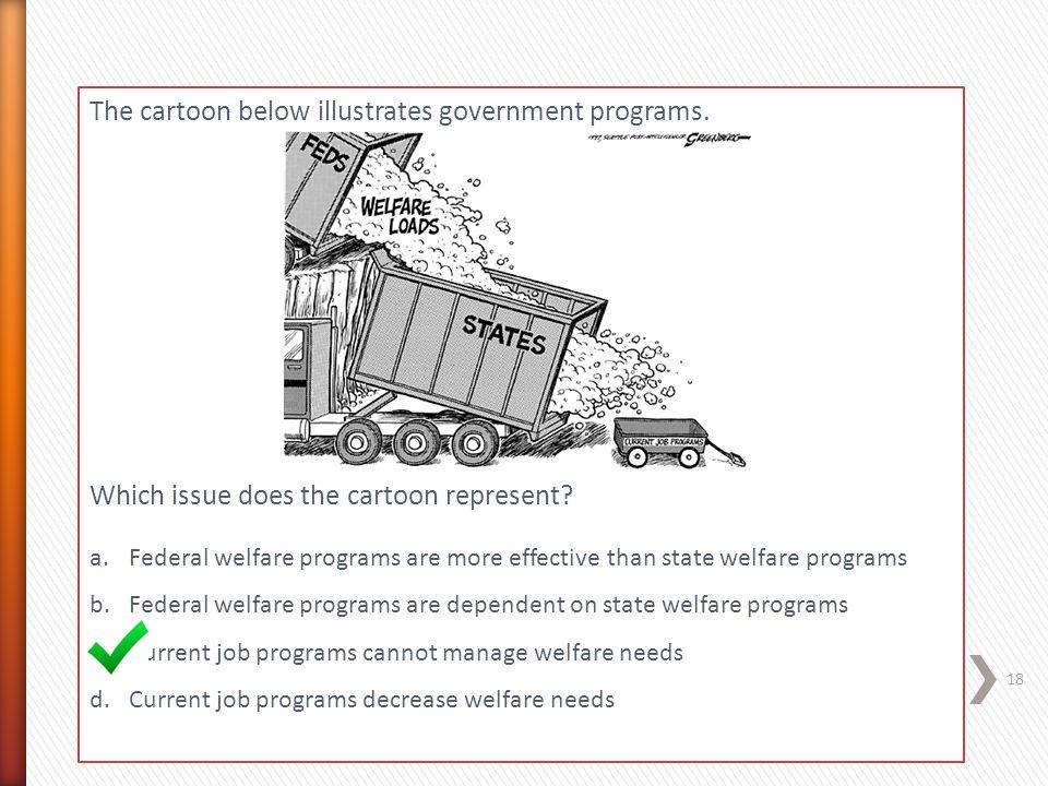 The cartoon below illustrates government programs.