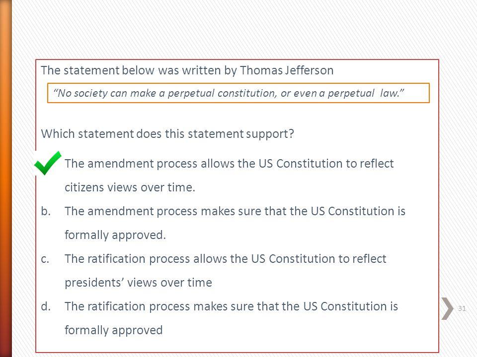 The statement below was written by Thomas Jefferson