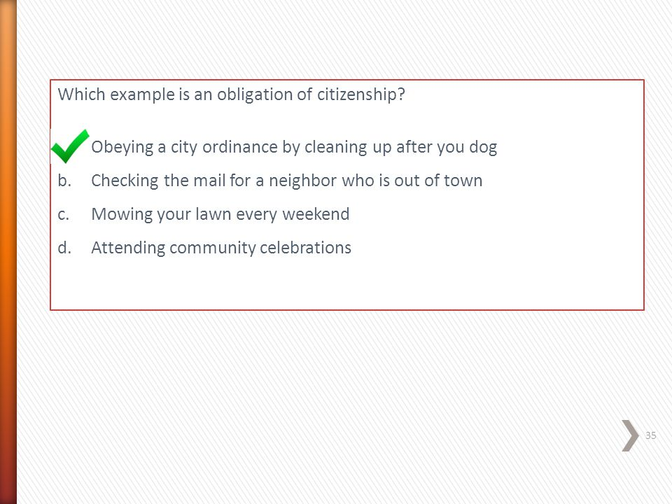 Which example is an obligation of citizenship
