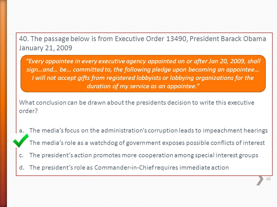 40. The passage below is from Executive Order 13490, President Barack Obama January 21, 2009
