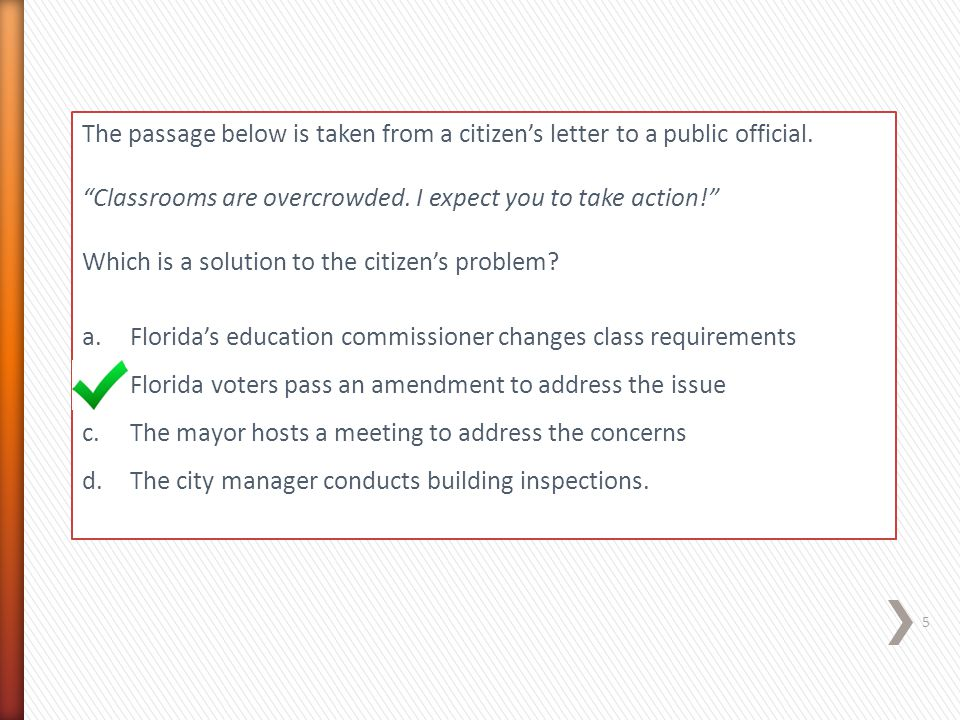 The passage below is taken from a citizen's letter to a public official.