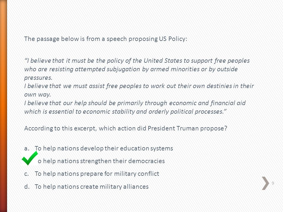 The passage below is from a speech proposing US Policy: