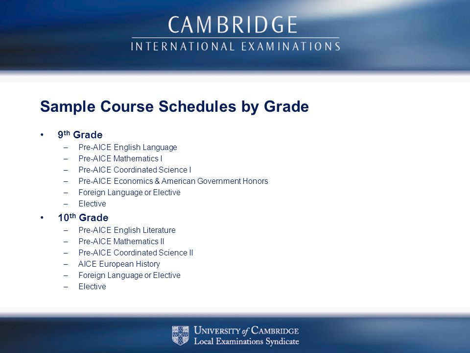 Sample Course Schedules by Grade