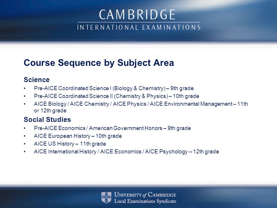Course Sequence by Subject Area