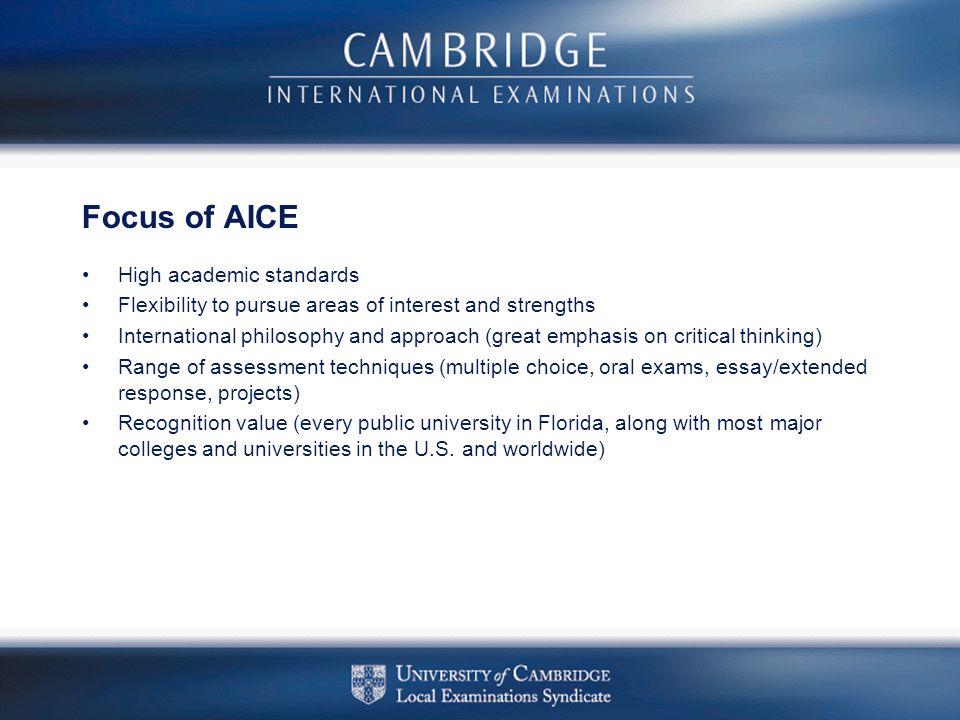 Focus of AICE High academic standards