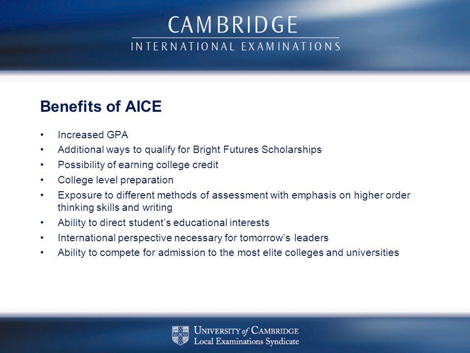 Benefits of AICE Increased GPA