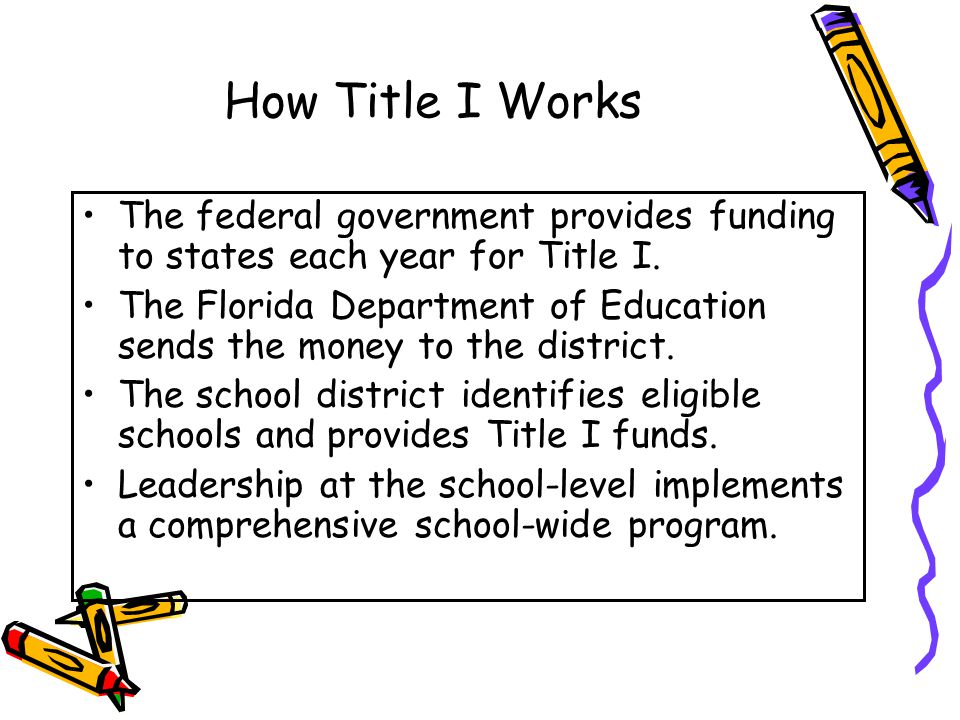 How Title I Works The federal government provides funding to states each year for Title I.