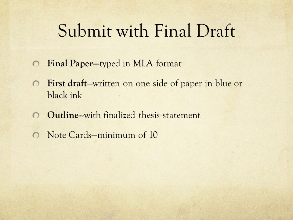 Submit with Final Draft