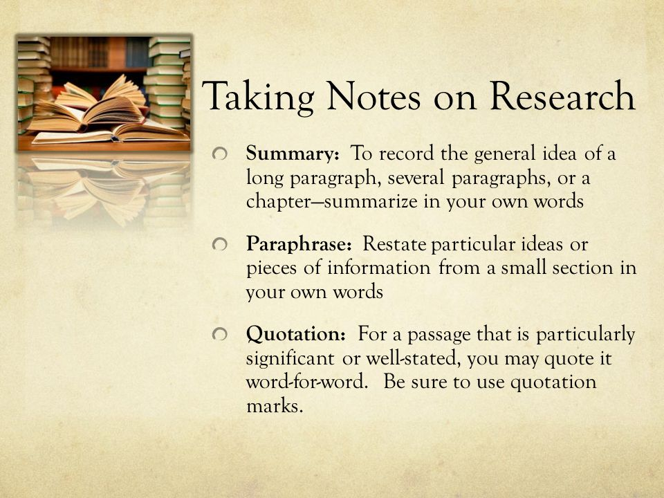 Taking Notes on Research