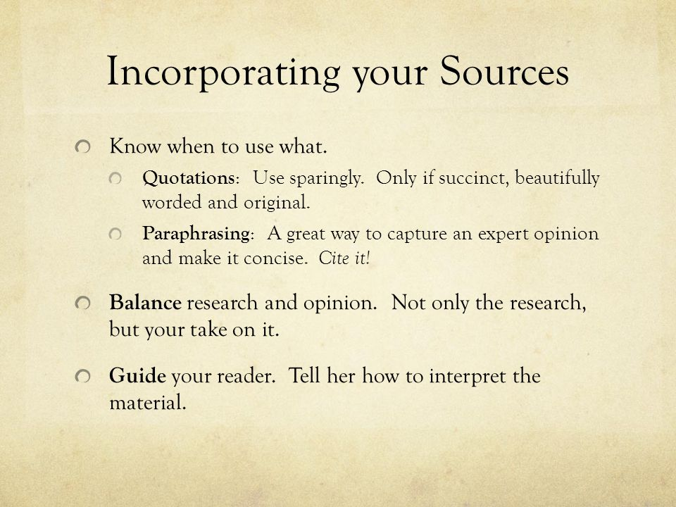 Incorporating your Sources
