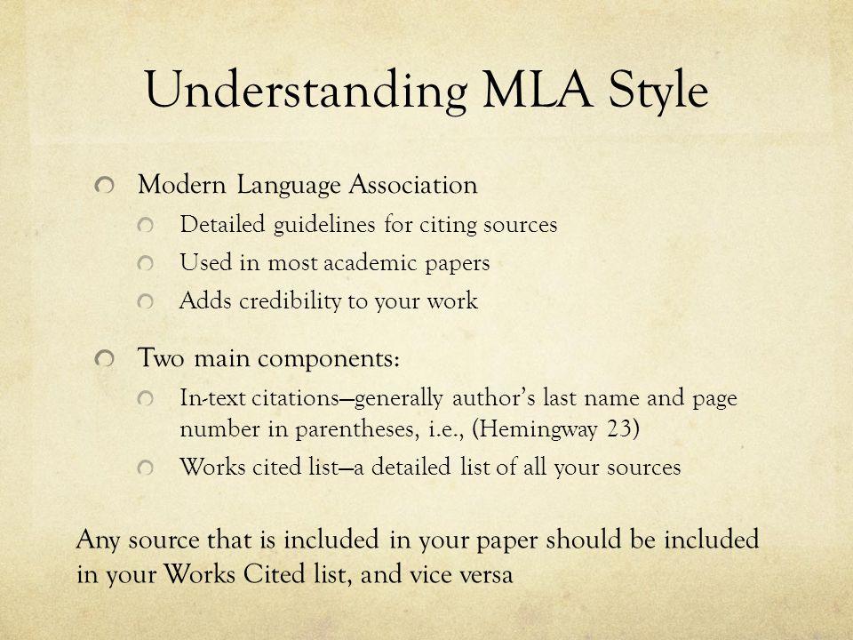 Understanding MLA Style