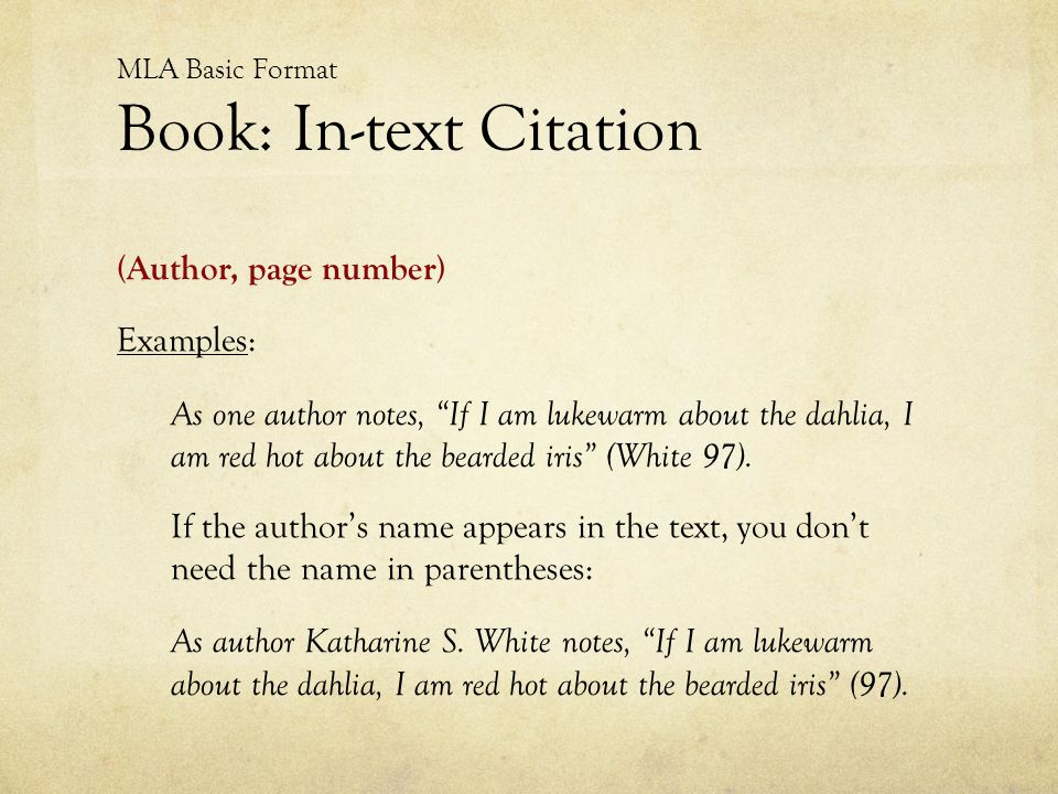 MLA Basic Format Book: In-text Citation