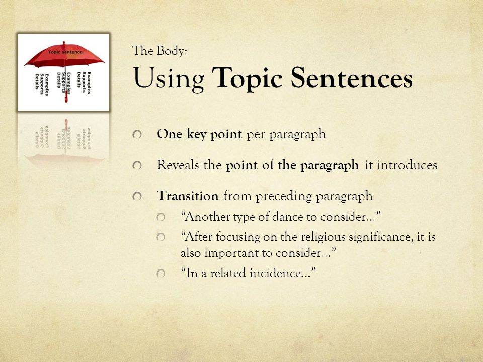 The Body: Using Topic Sentences