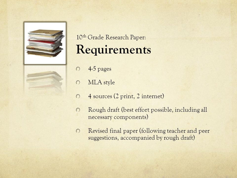 10th Grade Research Paper: Requirements