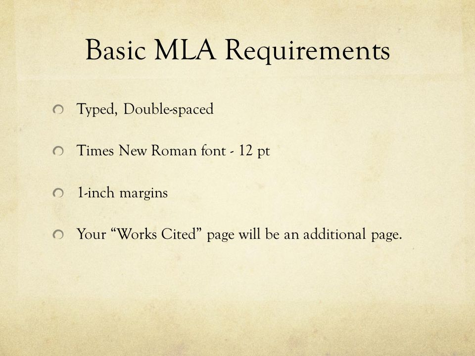 Basic MLA Requirements