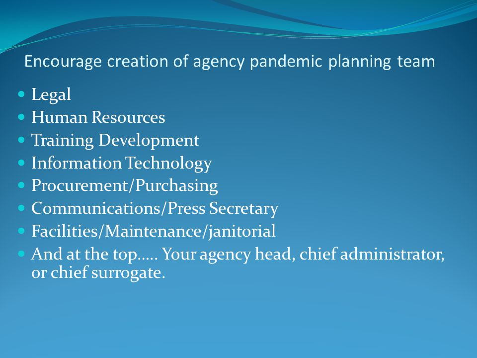 Encourage creation of agency pandemic planning team