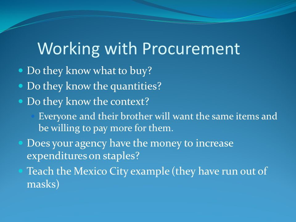 Working with Procurement