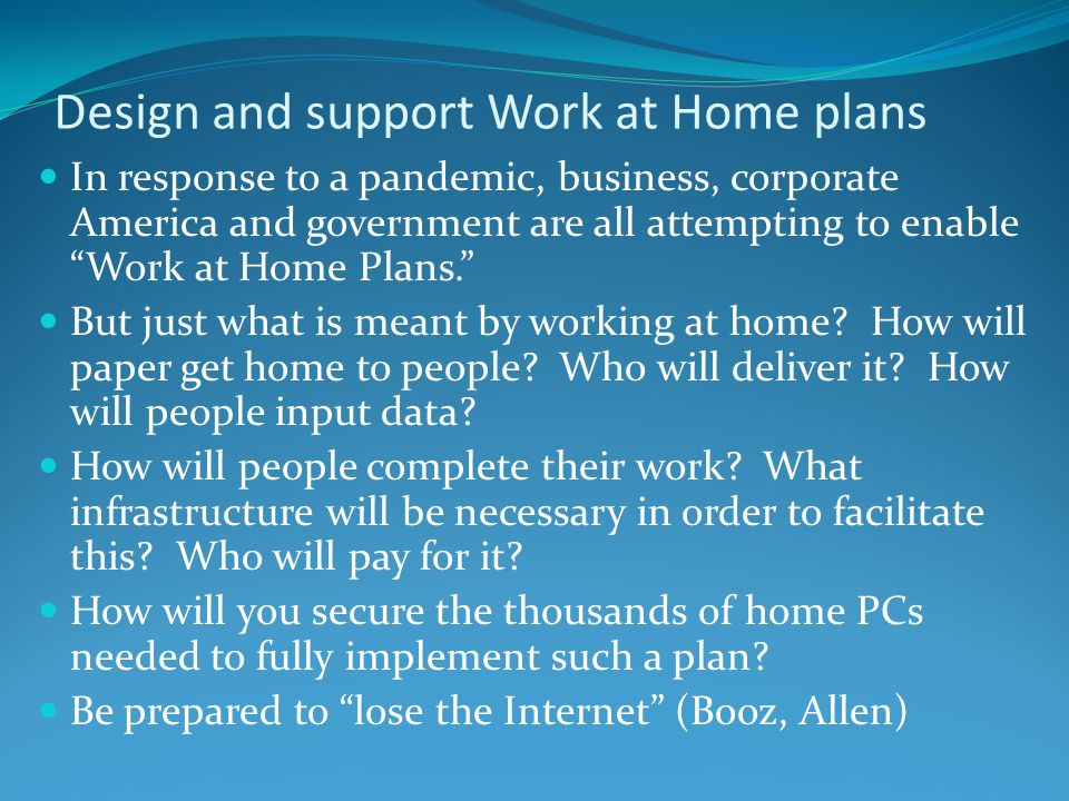 Design and support Work at Home plans