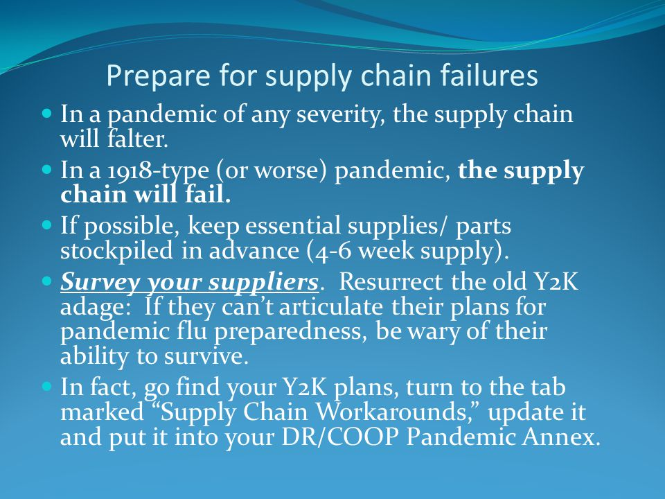 Prepare for supply chain failures