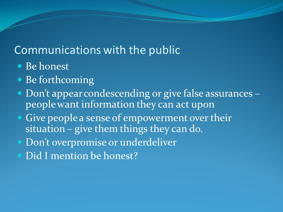 Communications with the public