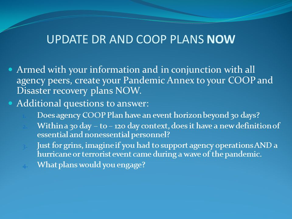 UPDATE DR AND COOP PLANS NOW