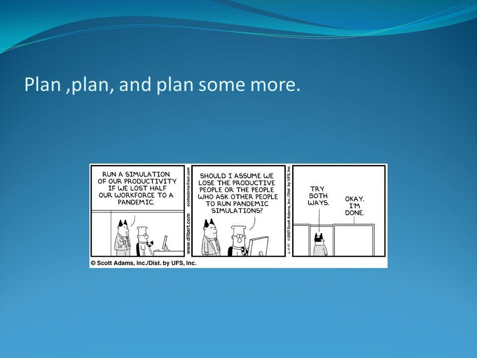 Plan ,plan, and plan some more.
