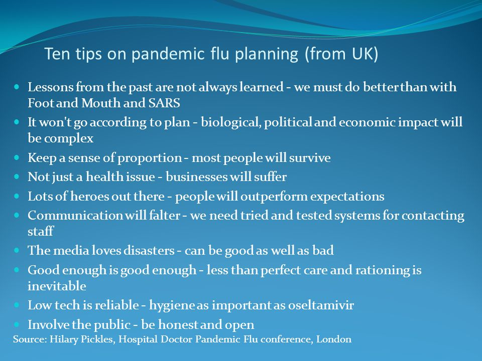 Ten tips on pandemic flu planning (from UK)