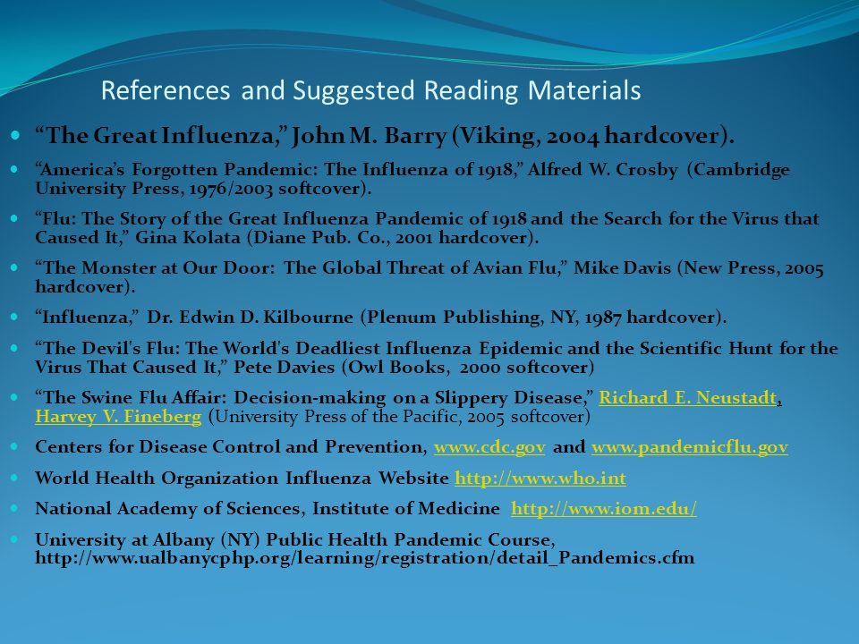 References and Suggested Reading Materials