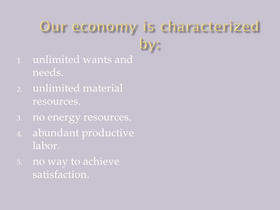 Our economy is characterized by: