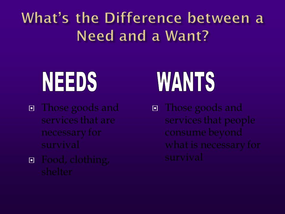 What's the Difference between a Need and a Want