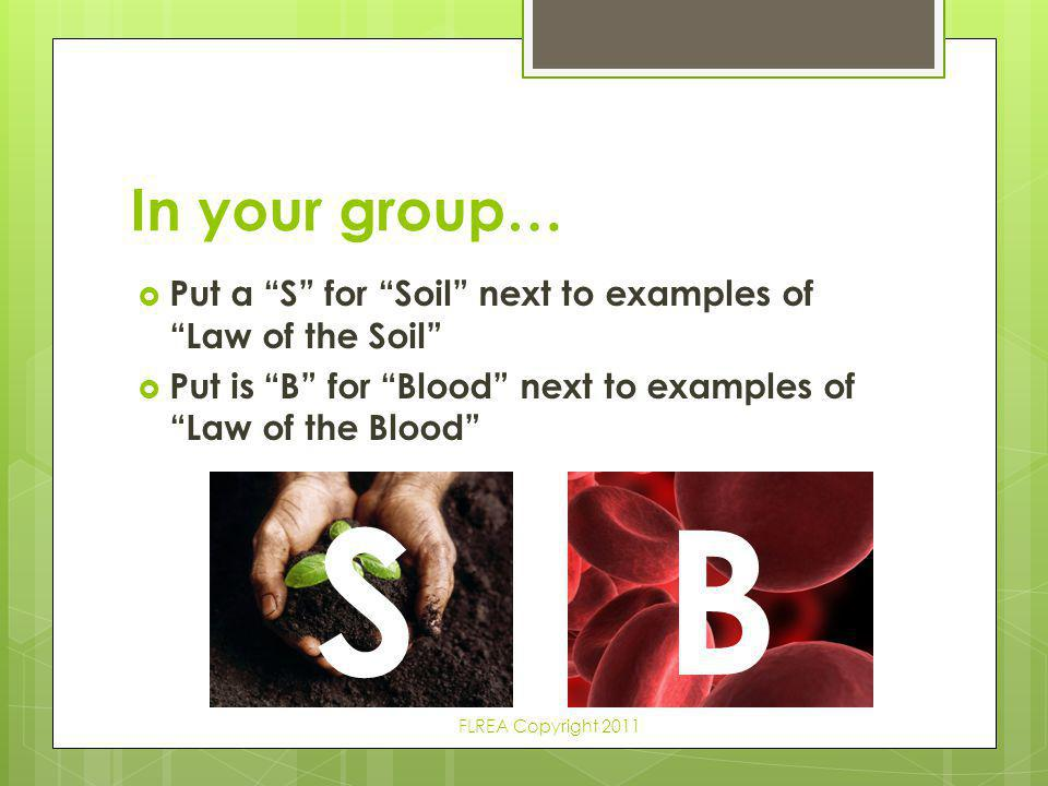 In your group… Put a S for Soil next to examples of Law of the Soil Put is B for Blood next to examples of Law of the Blood