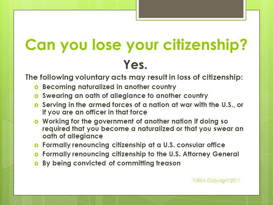 Can you lose your citizenship