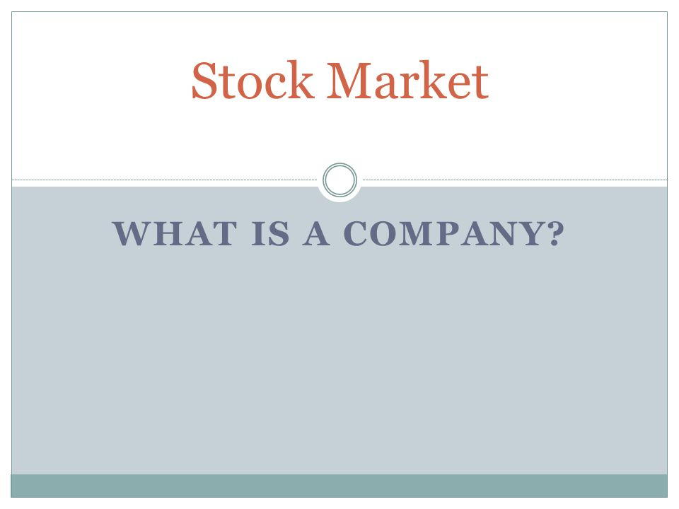 Stock Market What is a Company