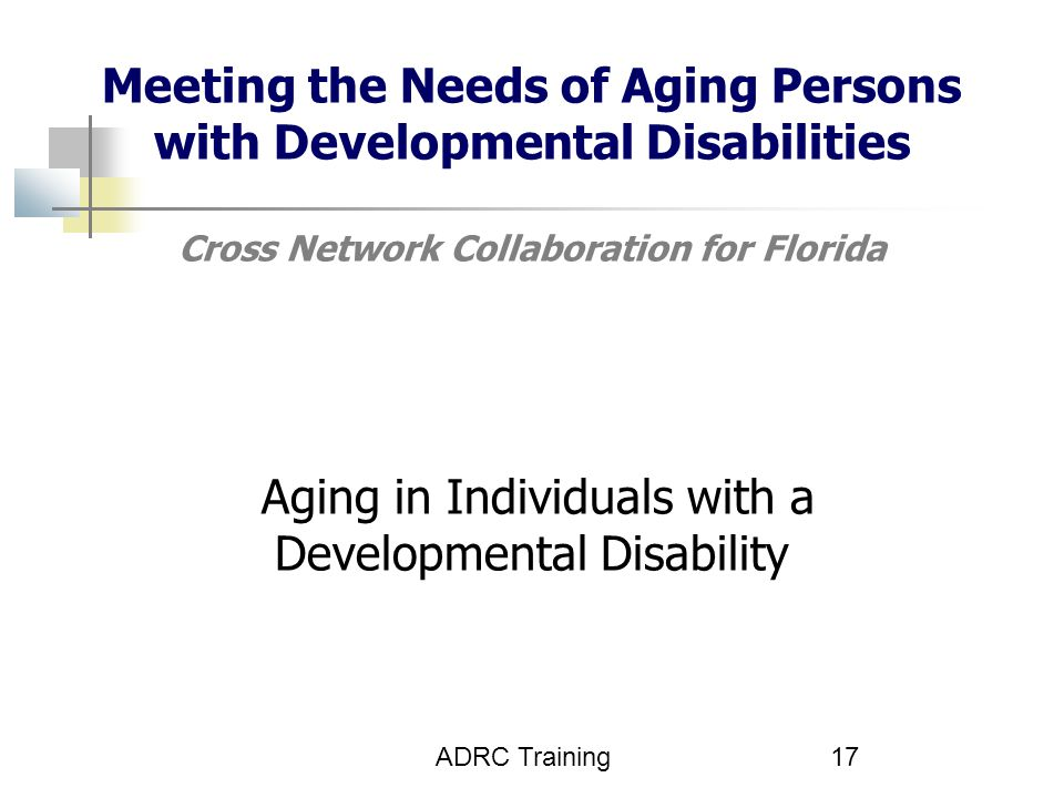 Meeting the Needs of Aging Persons with Developmental Disabilities Cross Network Collaboration for Florida Aging in Individuals with a Developmental Disability