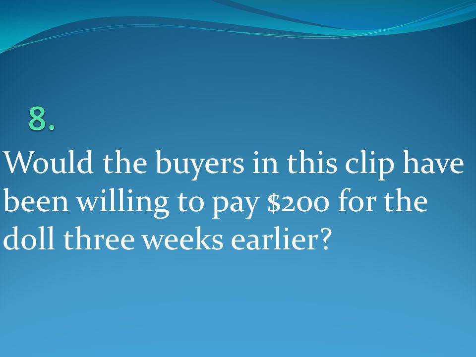 8. Would the buyers in this clip have been willing to pay $200 for the doll three weeks earlier