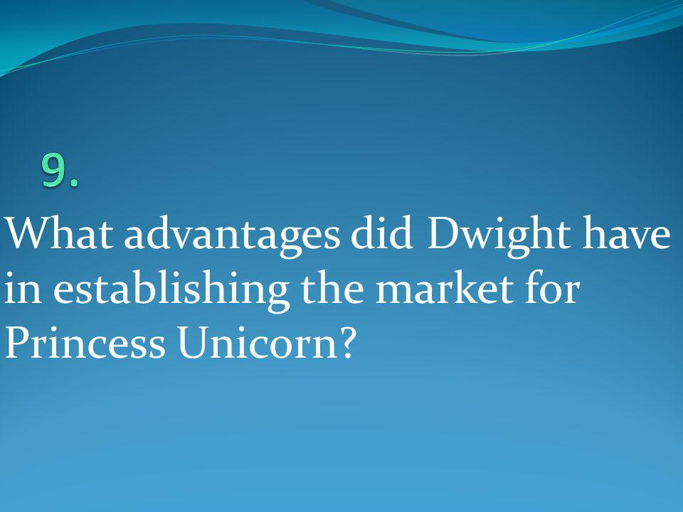 9. What advantages did Dwight have in establishing the market for Princess Unicorn