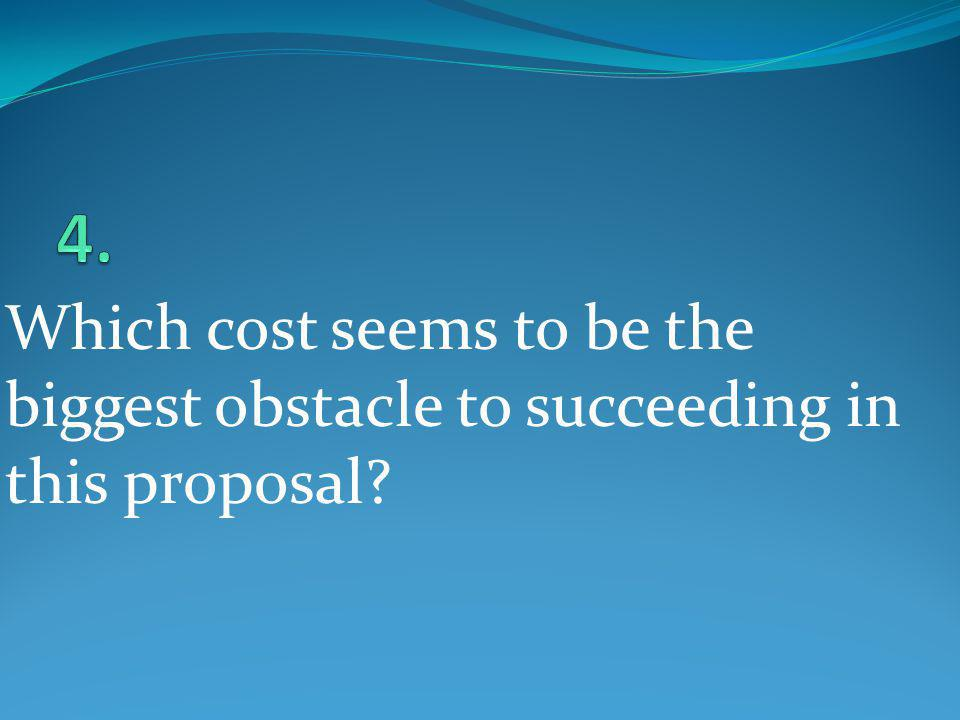 4. Which cost seems to be the biggest obstacle to succeeding in this proposal