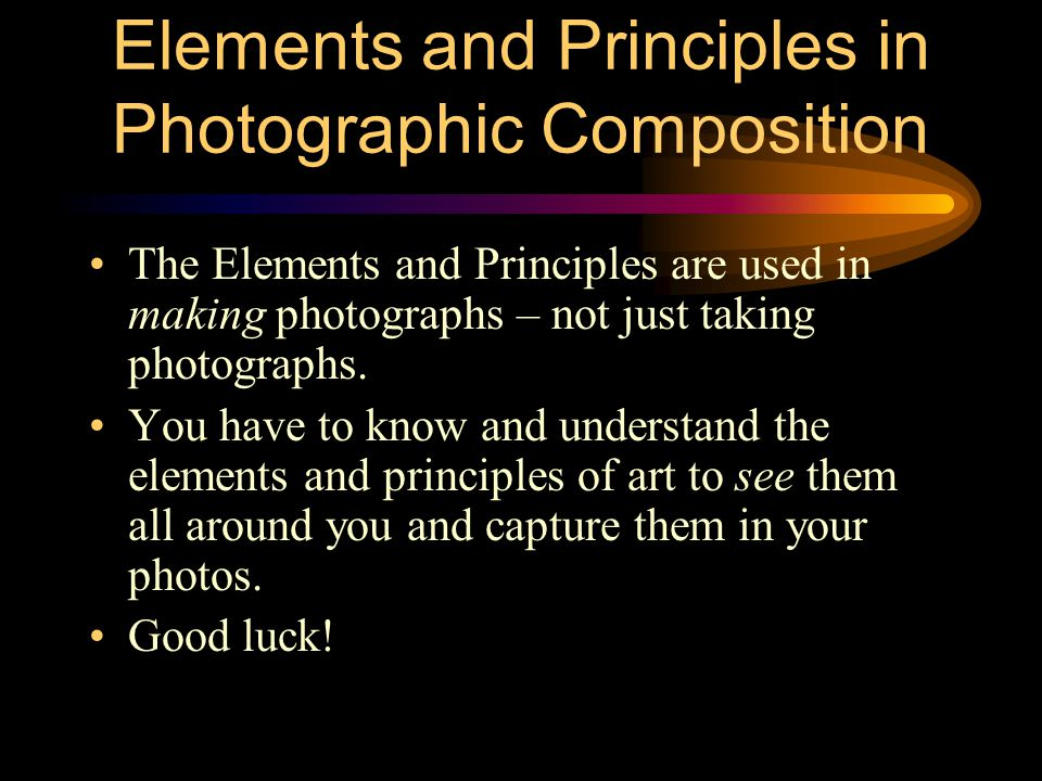 Elements and Principles in Photographic Composition