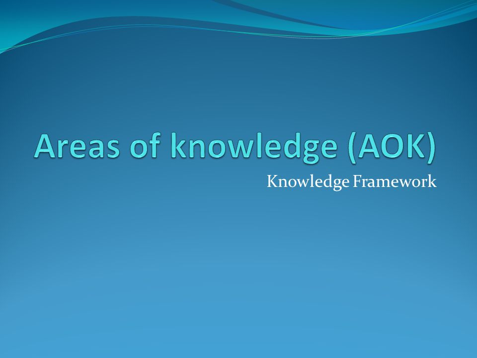 Areas of knowledge (AOK)