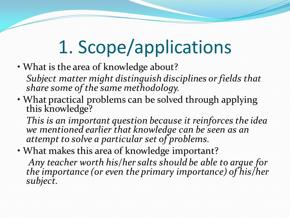 1. Scope/applications