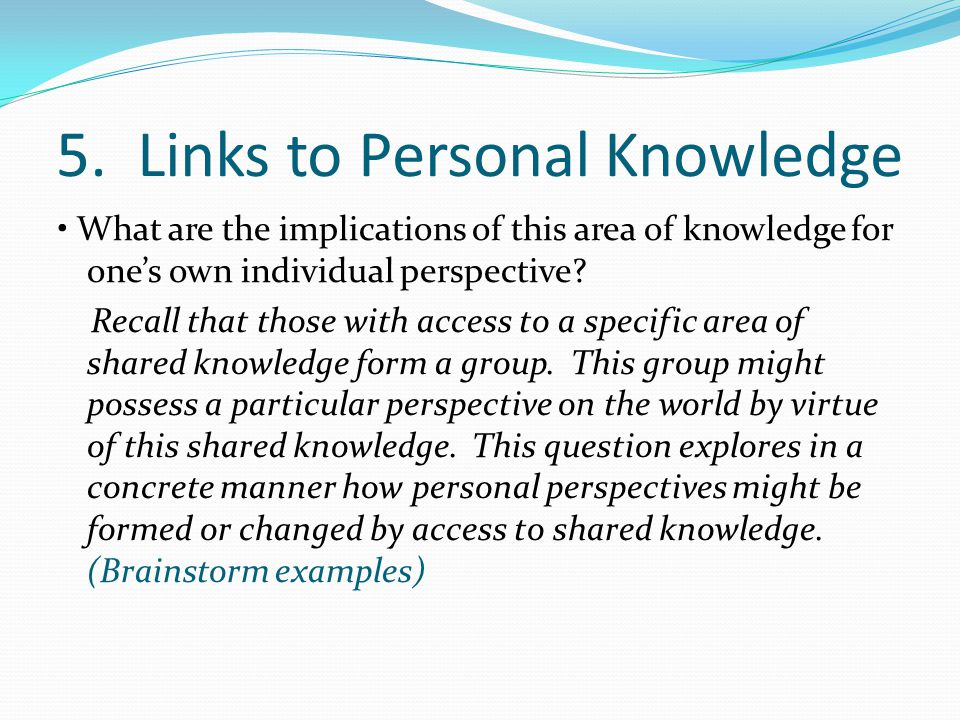 5. Links to Personal Knowledge