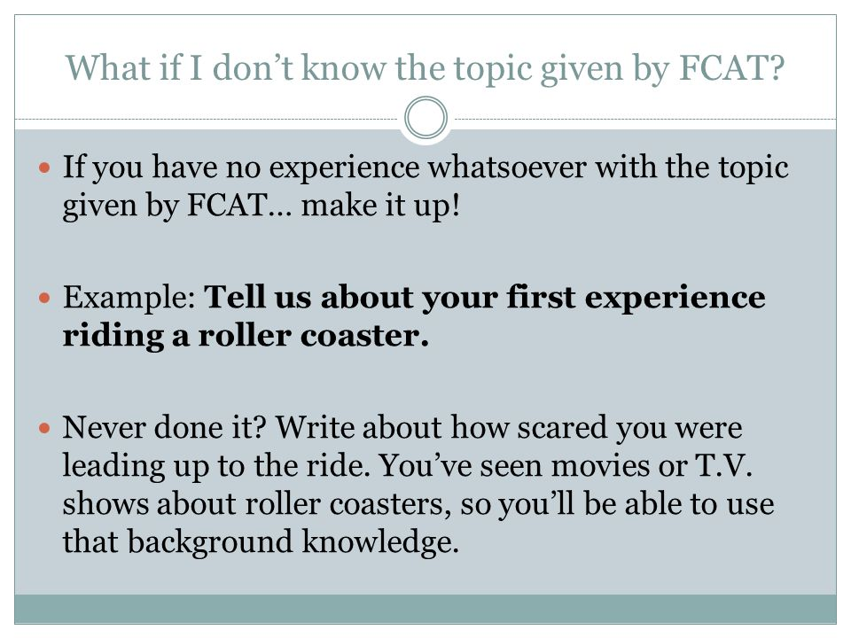 What if I don't know the topic given by FCAT