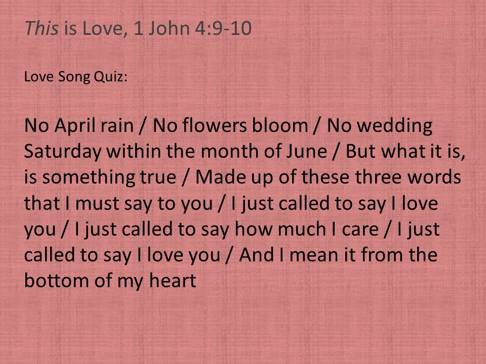 No April rain / No flowers bloom / No wedding