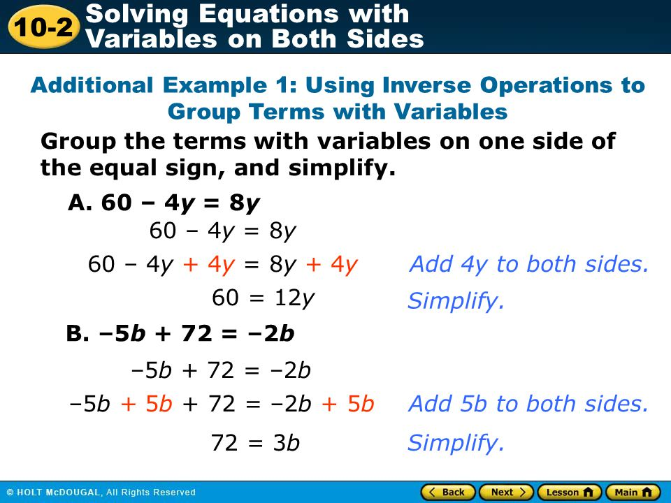 Additional Example 1: Using Inverse Operations to Group Terms with Variables