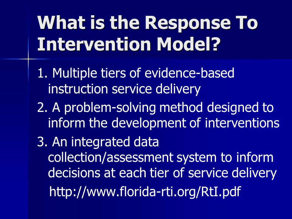 What is the Response To Intervention Model