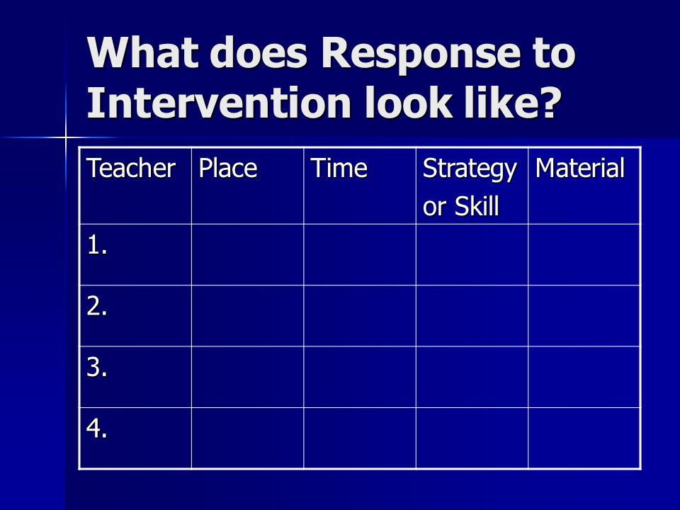 What does Response to Intervention look like